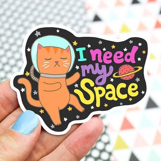 Need My Space Galaxy Cat Vinyl Sticker