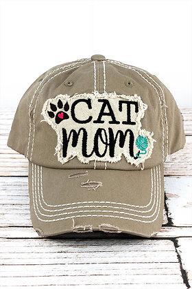 Hat - Cat Mom - Distressed Khaki