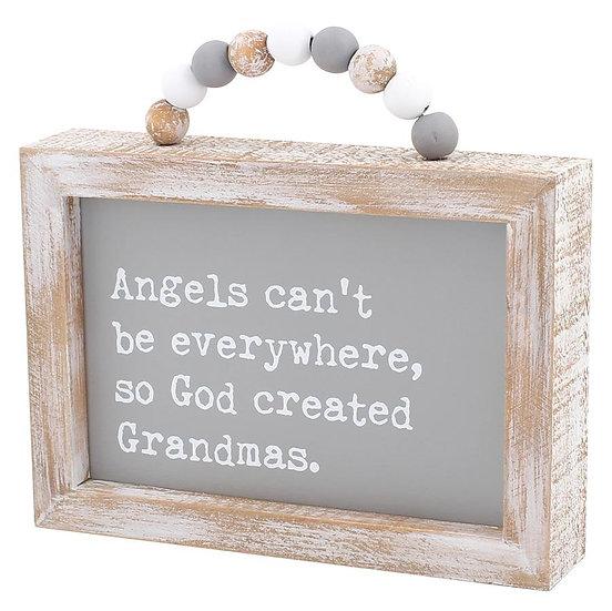 Grandmas Framed Sign with Beads