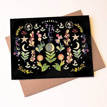 Moon Flowers Cards Box of 8 - blank, thank you card