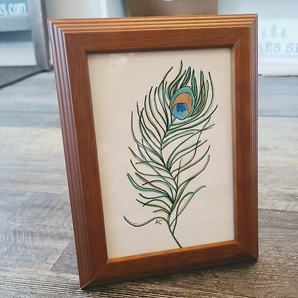 Framed Watercolor Print 5x7 - Peacock