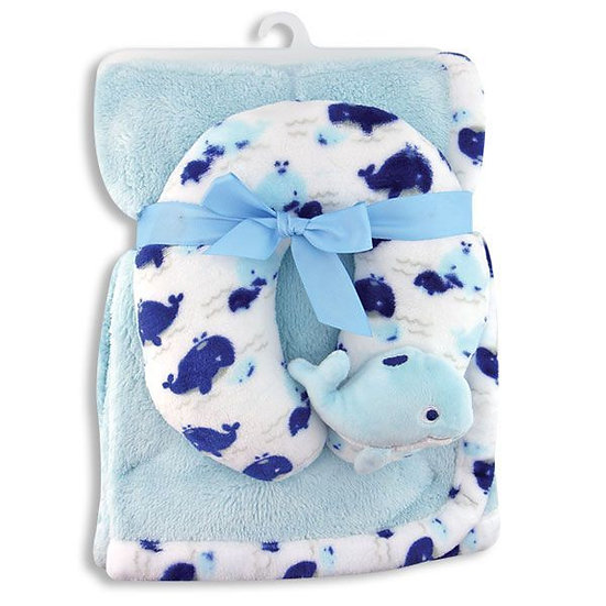 Baby Blanket and Neck Support Pillow - Whale