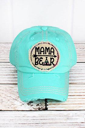 Hat - Mama Bear (Distressed Mint Blue)