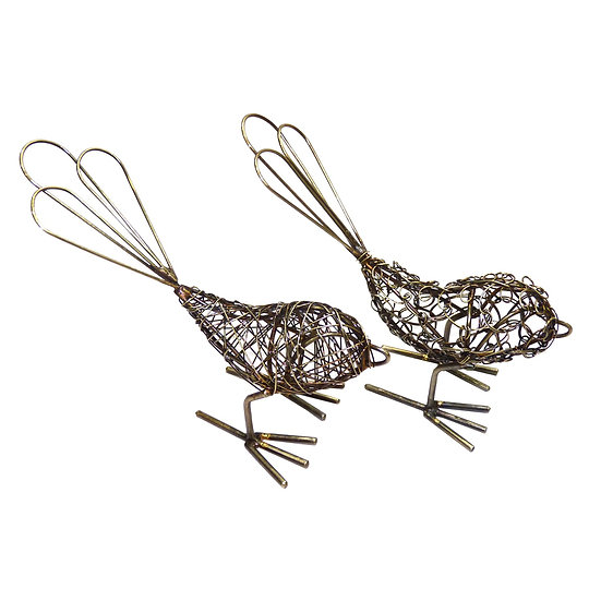 Mini Antique Wrapped Wire Birds (set of 2)