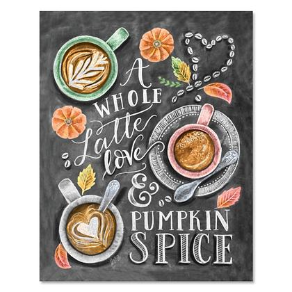 Chalk Art 8x10 A Whole Latte Love
