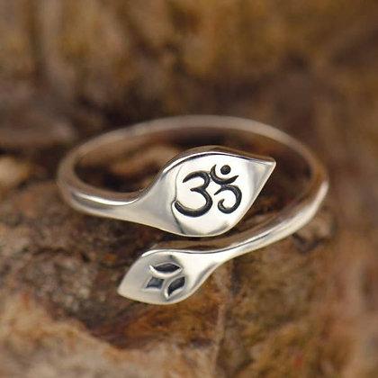 Sterling Silver Lotus & Om Adjustable Ring