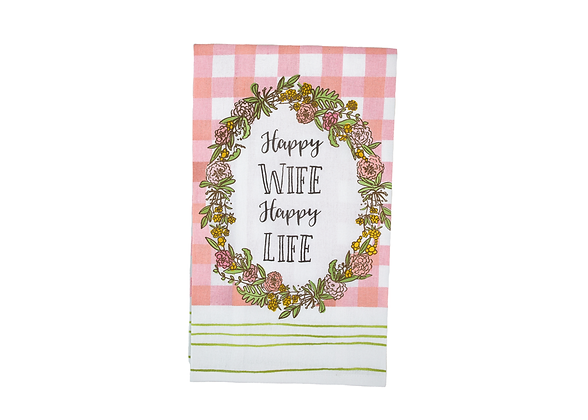 Tea Towel - Happy Wife Happy Life
