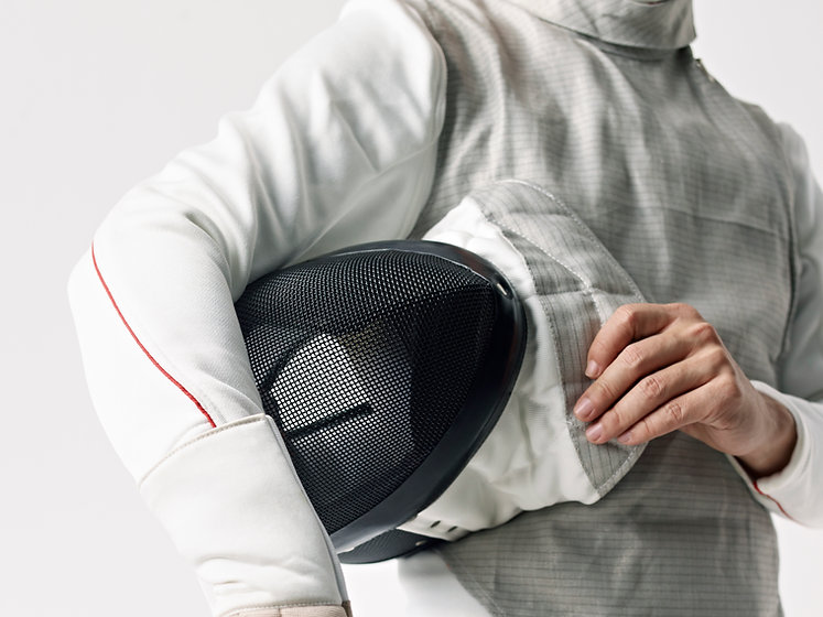 Fencer with protective mask