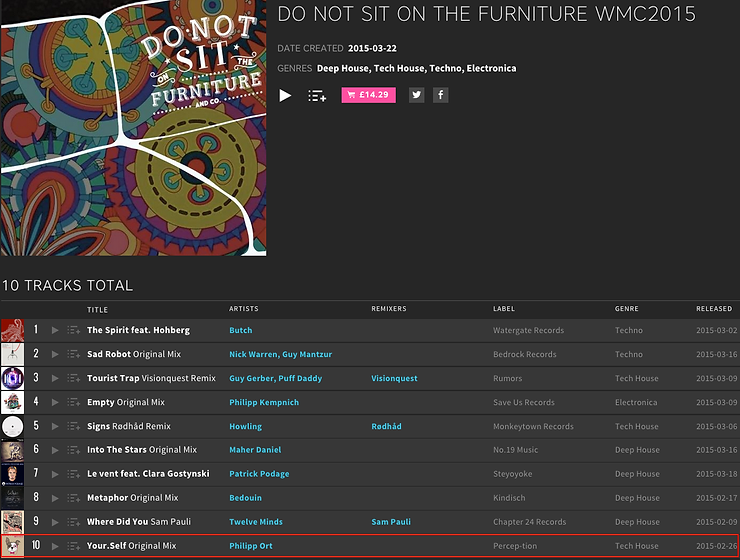Do not sit on the furniture Beatport chart
