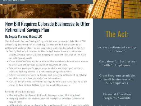 Mandatory Retirement Plan Passes for Colorado