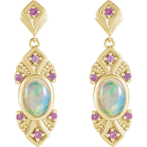 14kt Gold Opal/Pink Sapphire Earrings