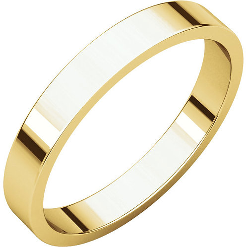 14kt Gold 3mm Wide Flat Band Size 6
