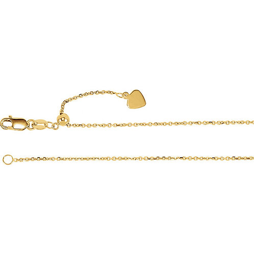 14kt Gold Adjustable Cable Chain 22""