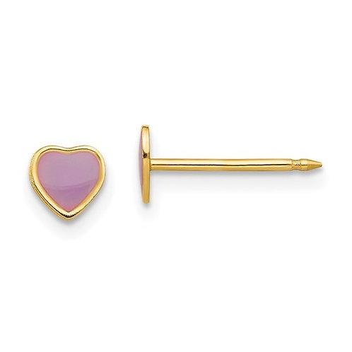 14kt Yellow Gold Purple Epoxy Children's Heart Earrings