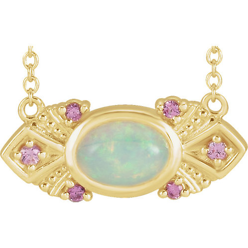 Opal and Pink Sapphire Necklace 18""