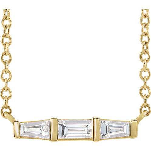 14kt Gold Baguette Bar Necklace 18""