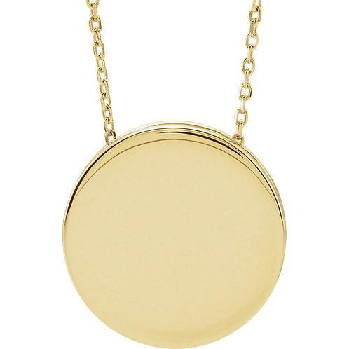 14kt Gold Polished Engravable Disc Necklace