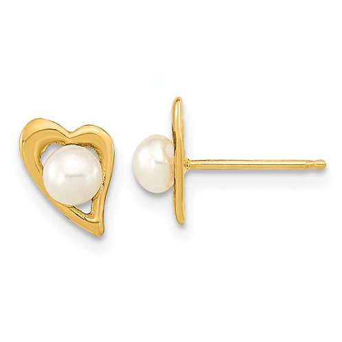 14kt Yellow Gold and Freshwater Pearl Heart Earrings