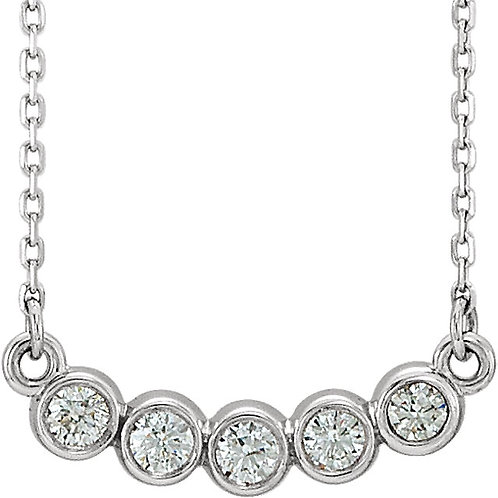 14kt White Gold Diamond Bezel Set Curved Necklace