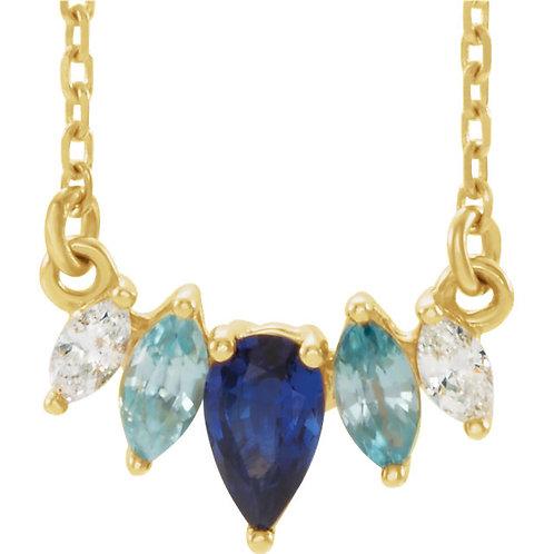 14kt Gold Multigemstone Necklace