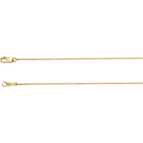 14kt Solid Gold/1mm Diamond Cut Cable Chain/16 inch