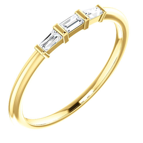14kt Gold and Diamond Baguette Stackable Ring