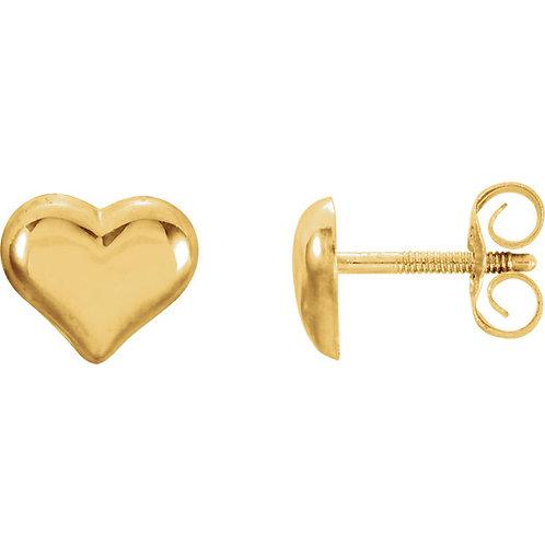 Youth Jewelry - Gold Heart Stud Earrings