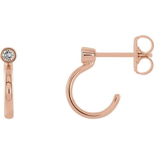 14kt Gold Diamond J-Hoop Earrings