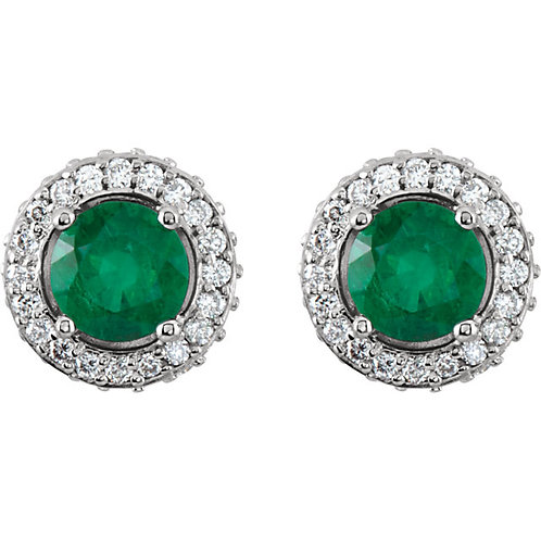 Emerald and Diamond Halo Stud Earrings