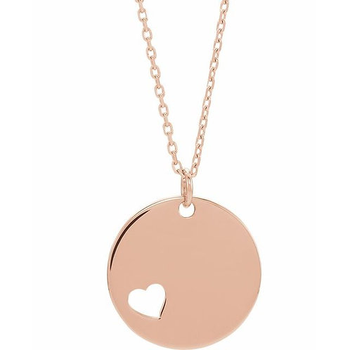 14kt Rose Gold Engravable Disc Necklace