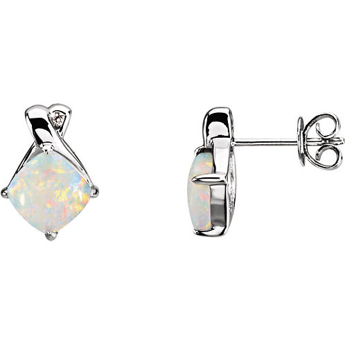 14kt White Gold Opal and Diamond Earrings