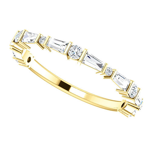 14kt Gold 1/2carat Baguette/Round Diamond Band