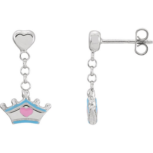 Youth Jewelry - Disney Cinderella Sterling Silver Princess Earrings