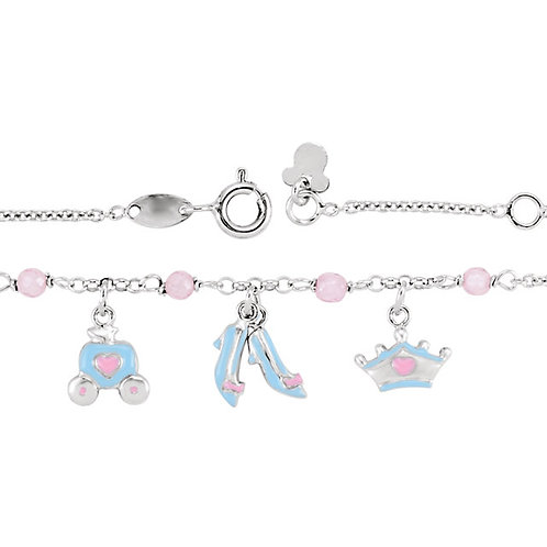 Youth Jewelry - Disney Cinderella Sterling Silver Charm Necklace