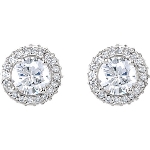 1 1/3 Carat Total Weight Diamond Halo Stud Earrings