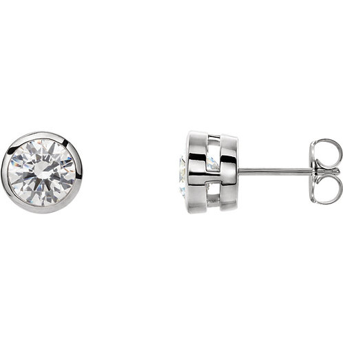 Lab Created Colorless Diamond Bezel Set Studs (1/2carat each)
