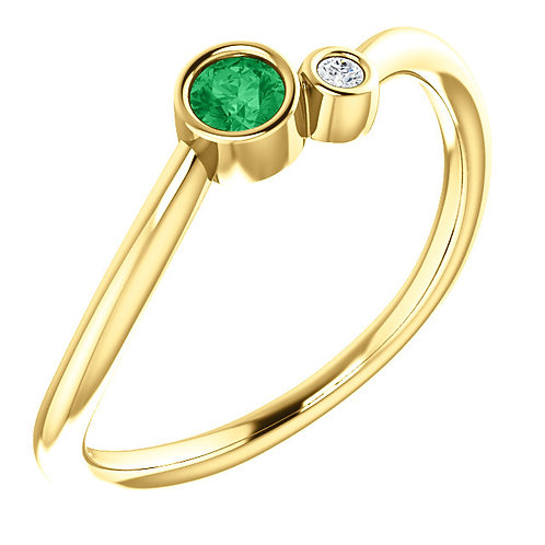 14kt Yellow Gold Genuine Birthstone Gem and Diamond Ring