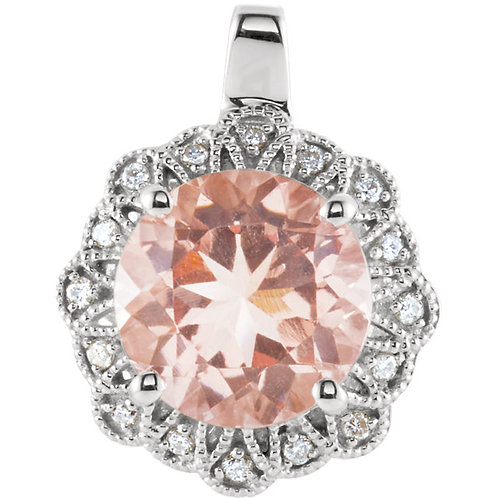 Pink Morganite and Diamond 14kt White Gold Pendant
