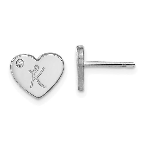 Sterling Silver and Diamond Initial Heart Earrings