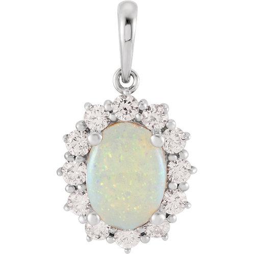 White Opal and Diamond Halo Pendant