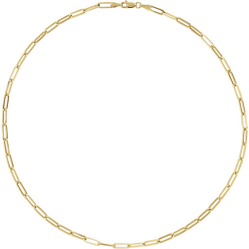 """Yellow Gold Plated 3.85mm Elongated Flat Link 18"""""""