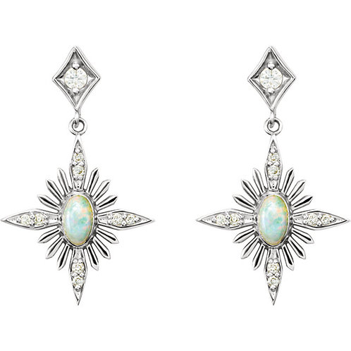 14kt Gold Opal/Diamond Celestial Earrings