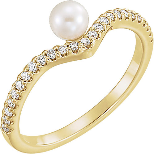 Pearl and Diamond Asymmetrical Ring