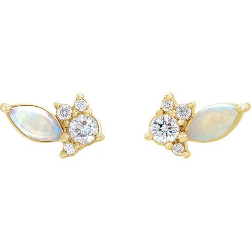 Cluster Opal and Diamond Earrings