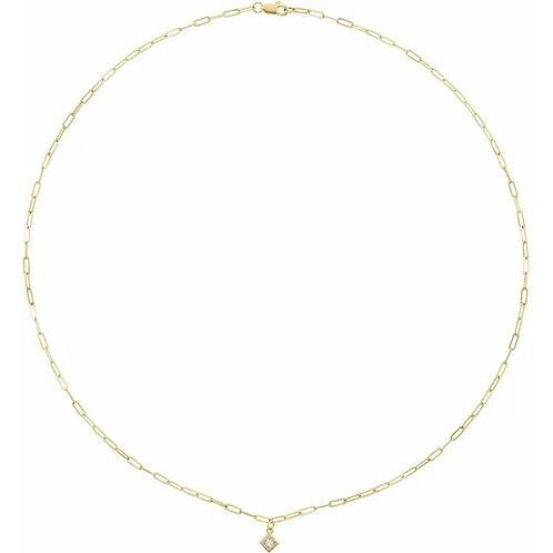 Bezel Set Diamond Chain Necklace