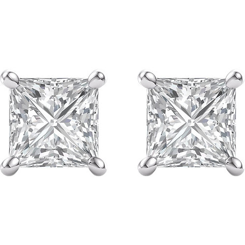 Princess Cut Diamond Studs in 14kt White Gold
