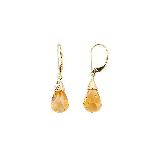 Yellow Citrine Briolette Earrings