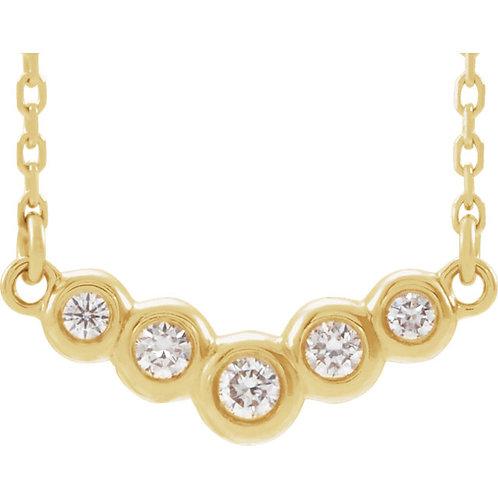 14kt Gold Diamond Bezel Set V-Shape Necklace