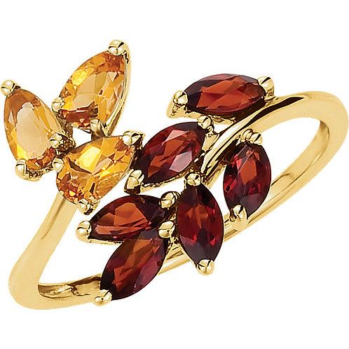 Citrine and Mozambique Garnet Leaf Ring