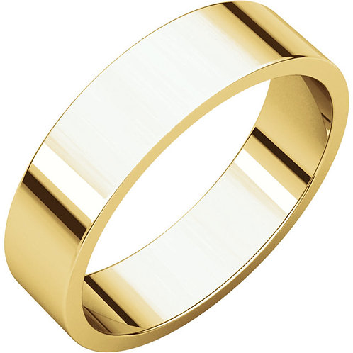 14kt Gold 5mm Wide Flat Band Size 6